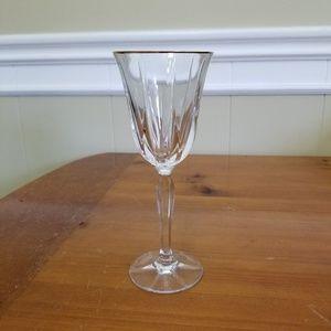 Noritake Vendome Crystal  glassware stem gold rim
